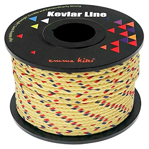 emma kites Brighter Color Kevlar Braided Cord 350Lb 100Ft Abrasion/Flame Resistant, Tactical Survival Cord Fishing Tackle Assist Cord Camping Packing Rigging General Application