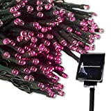 LED ソーラー イルミネーション 太陽発電 300球 点灯8パターン 防水 防雨 屋外 クリスマス イルミ 自動ON/OFF (ピンク)
