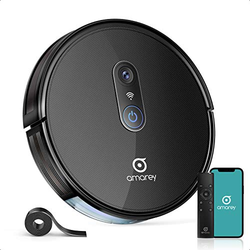 Amarey A980 Robot Vacuum- Wi-Fi Connected Robotic Vacuum Cleaner, Smart Mapping, Works with Alexa, Ideal for Pet Hair and Hardwood Floors Black