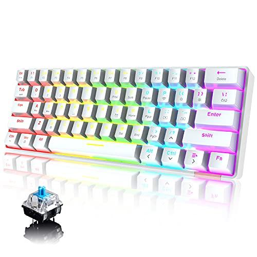 60% Teclado mecánico Cableado/inalámbrico Teclado Bluetooth 5.0 61 teclas RGB Rainbow LED...