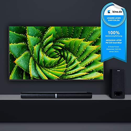 MEDION P61220 2in1 Convertible Bluetooth TV Soundbar mit Subwoofer (2.1 Soundbar, 2 x 30 Watt, 60 Watt Subwoofer, Wandmontage, NFC, HDMI ARC mit ECC, AUX, optischer Eingang)