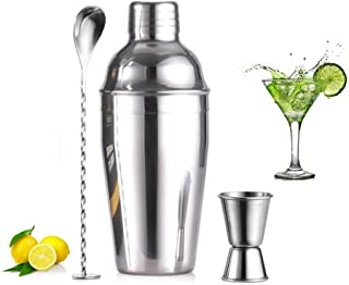 3 cocktail stirrer tableware, stainless steel stick set (550 ML shaker, 15/30 ML measuring cup and cocktail spoon), cockta...