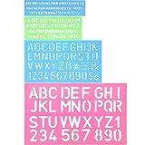Shappy 4 Pezzi Lettering Stencil Alfabeto Lettera di Stencil Numero Righello di Mestiere Plastica Decorativi Guide di Stencil Set, Colori Assortiti