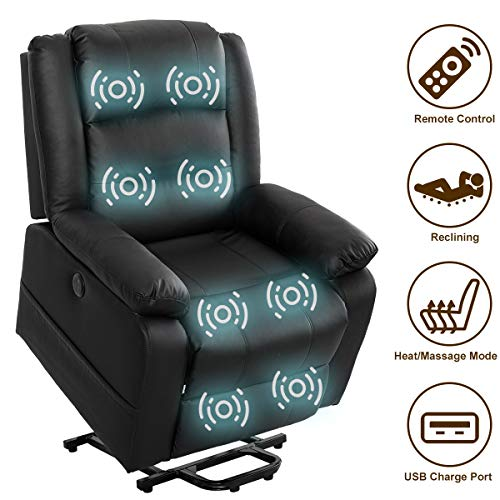 Electric Power Lift Recliner Chair PU Leather for Elderly with Massage and Heating Ergonomic Living Room Sofa Classic Black