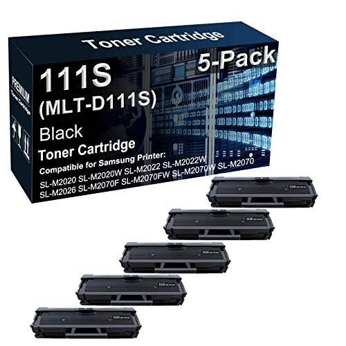 Paquete de 5 cartuchos de tóner compatibles con impresoras láser 111S MLT-D111S para Samsung Xpress SL-M2020W SL-M2022W SL-M2060 SL-M2070FW, color negro