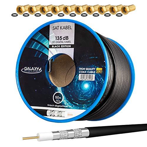 HB-Digital Set: 50m Koaxial SAT Kabel 135db Schwarz + 10x F-Stecker vergoldet | CCS (Stahl-Kupfer) Satellit Antennenkabel 5-Fach geschirmt für DVB-S/S2 DVB-C/C2 DVB-T/T2 DAB+ Radio BK Anlagen