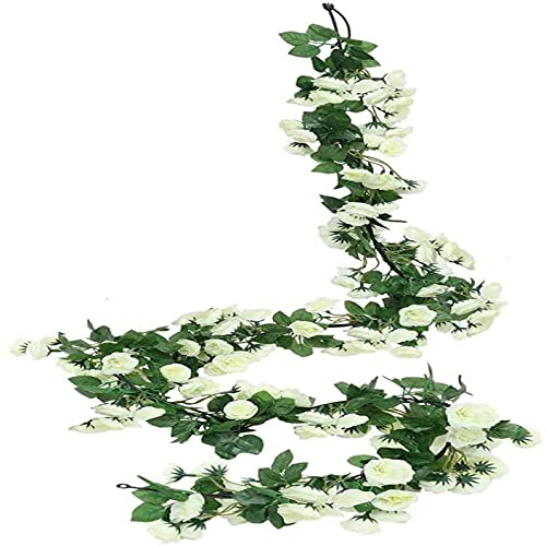 Yyhmkb Artificial Rose Vine Flowers Garlands Decorations Floral Hanging Garden Craft Rose Ivy Plants For Wedding Arch Arrangement 69 Roses White*2Pack