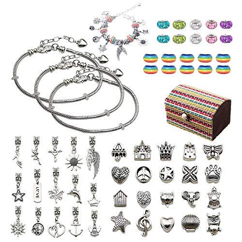 Kit de fabricación joyas para niñas, 59 piezas bricolaje hacer pulseras, cadenas cuentas plateadas, manualidades para niños, bisutería, caja almacenamiento, regalos niñas de 8 a 12 años (arco iris)