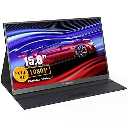 """Portable Monitor - FANGOR 15.6"""" Full HD 1080P USB Type-C HDMI Computer Display IPS Screen with Dual Speaker Gaming Monitor Laptop PC MAC Surface Phone PS4 Include Smart Cover"""