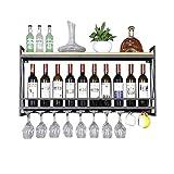ZHONGHUA botellero Vino Resistente Montaje en la Pared Manteneros de Vino de Hierro de Hierro de Madera sólido. Botellero Independiente (Color : Black, tamaño : 80cm)