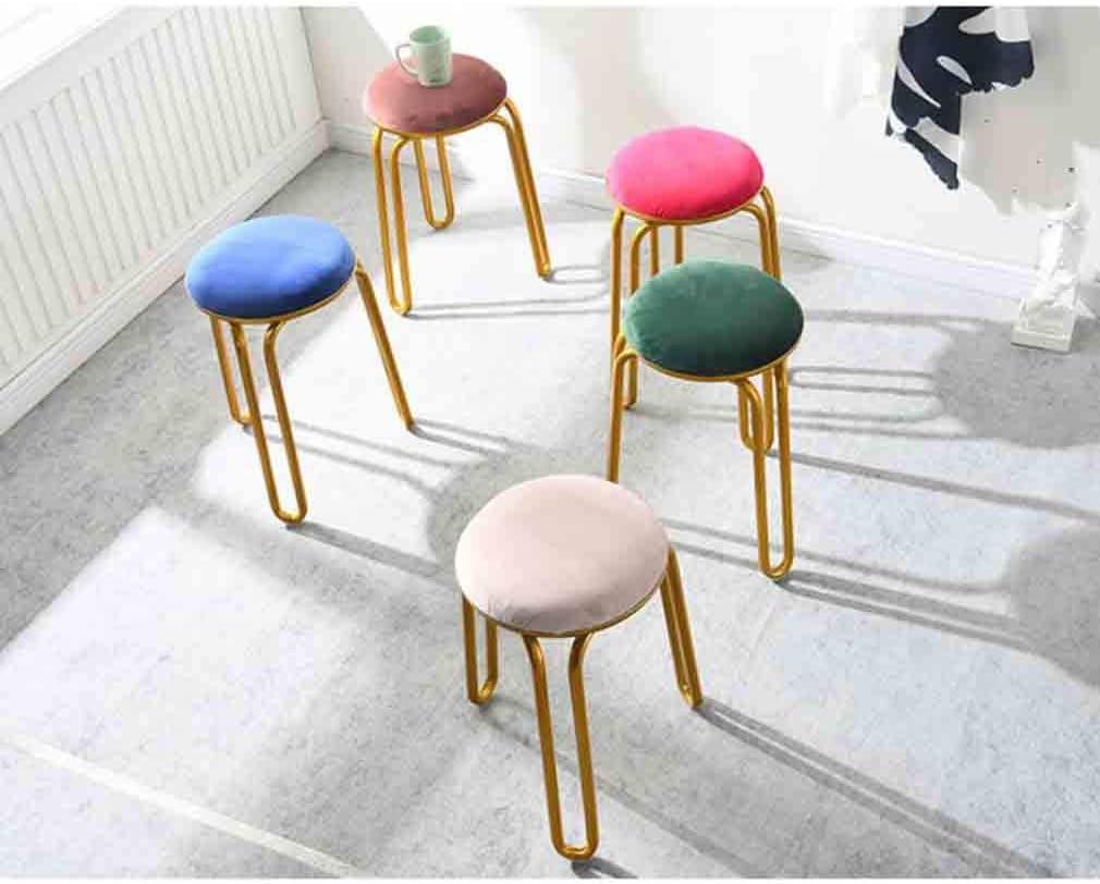 YCSD Tabouret De Maquillage Nordique en Fer Forgé Rond Loisir Chaise De Table À Manger Tabouret, 30x 30x48cm (Color : 01) 07