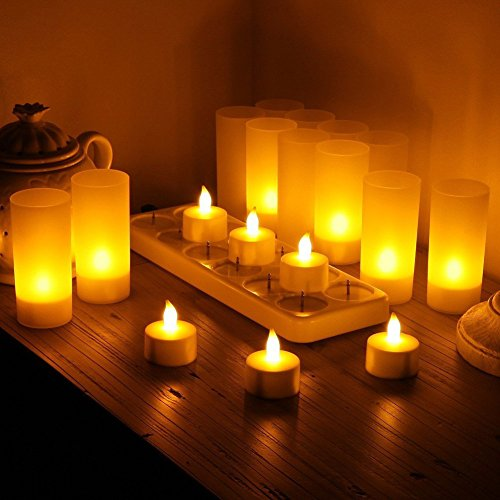 Samoleus 12er LED-Kerzen, Wiederaufladbare Kerzen, Batteriebetriebene Flammenlose Kerzen, Kabellose Teelichter, LED-Weihnachtskerzen, Kerzenlichter Mit Ladestation für Außen, Weihnachtsdeko, Hochzeit