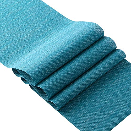 OSVINO Tischläufer abwaschbar einfarbig rutschfest für Küche Speisetisch 180 x 30cm, Blau, 1 x Tischläufer