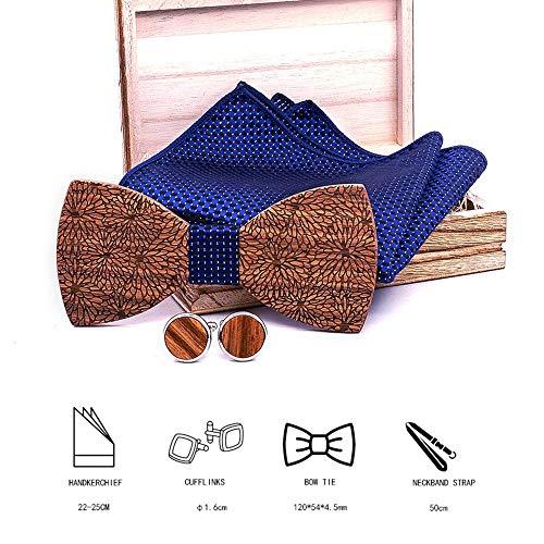 LYY Zebra Geschnitzte hölzerne Fliege Set mit Holz Box 2 Manschettenknöpfe und quadratischen Schale Geeignet für Männer Jungen Bräutigam-Hochzeit Zubehör-Feiertags-Party-Geschenke