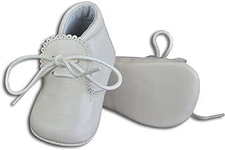 Baby Boys Leather Soft Sole Shoes w/Laces - White, Size 18 EU/3 US Infant