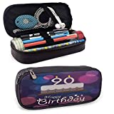 DJNGN 90 cumpleaños presente diseño de ensueño con manchas de color Estilo gráfico artístico Diseño de pastel sabroso Estuche para bolígrafo con cremallera Azul Rosa Blanco