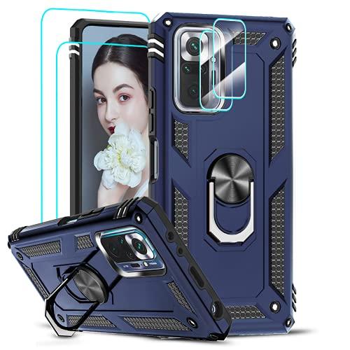 LeYi Funda para Xiaomi Redmi Note 10 Pro/Redmi Note 10 Pro MAX con 2 Piezas Vidrio Templado y 2 Piezas Protectores Lente Cámara,Armor Carcasa 360 Anillo Soporte Hard PC Silicona Bumper Case,Azul