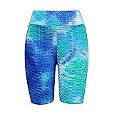 Tiktok Butt Leggings Shorts for Women High Waisted Booty Lift Workout Running Pants Tie Dye Tummy Control Bike Shorts