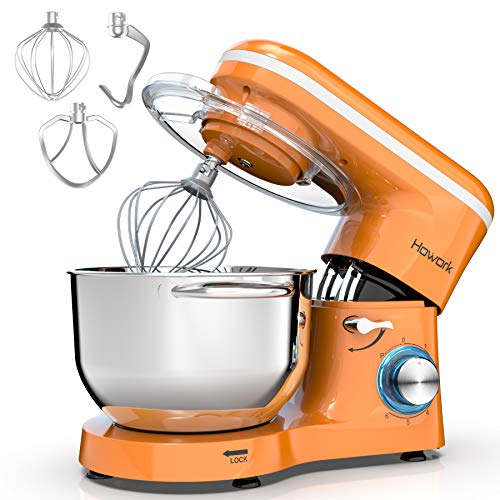 HOWORK Stand Mixer, 660W Electric Kitchen Food Mixer With 6.55 Quart Stainless Steel Bowl, 6-Speed Control Dough Mixer With Dough Hook, Whisk, Beater (6.55 QT, Pepper Yellow)