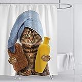 Xiongfeng Cute Duschvorhang Textil aus Polyester, Lustig Bad Katze Muster Badezimmer Vorhang, Weiß Funny 3D Effekt Bedruckt Duschvorhänge, mit 12 Haken für Badewanne 180 x 180 Wasserdicht Blickdicht