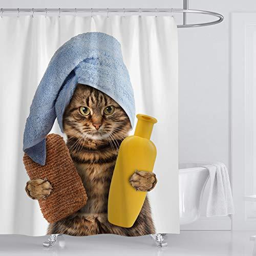 Xiongfeng Cute Duschvorhang Textil aus Polyester, Lustig Bad Katze Muster Badezimmer Vorhang, Weiß Funny 3D Effekt Bedruckt Duschvorhänge, mit 12 Haken für Badewanne 180 x 200 Wasserdicht Blickdicht
