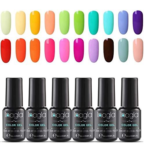 Smalto Semipermanente per Unghie in Macaron Colores Gel UV LED 20pzs Colori Lucido Set Kit per Manicure Smalti Gel per Unghie Soak Off di INAGLA - Dolce Amaretto