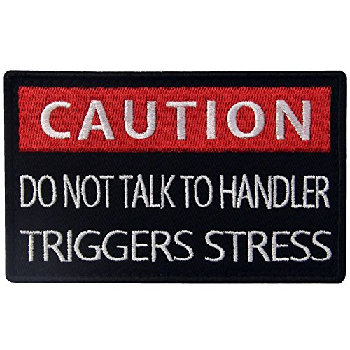 Service Dog Caution Do Not Talk to Handler Triggers Stress Service Vests/Harnesses Emblem Embroidered Fastener Hook & Loop Patch