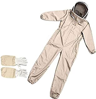 Professional Ventilated Full Body Beekeeping Bee Keeping Suit with Leather Gloves Protective Bee Suit, Professional Beekee...