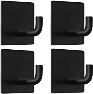 Champmate Self Adhesive Hooks, Heavy Duty Rugged 304 Stainless Steel Wall Hangers, Strong Sticky Hanging Hooks for Doors, Kitchen, Bathrooms, Office, 4 Packs (Matte Black 01)