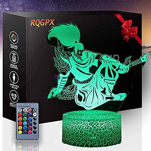 Lámpara 3D personalizada para League of Legends A 3D Night Light 16 colores regulable USB Powered Control táctil con control remoto para niños niñas niños regalos