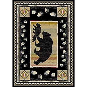 Rug Empire Take the Lead Black Bear Rustic Lodge Area Rug – 26″ W X 39″ L