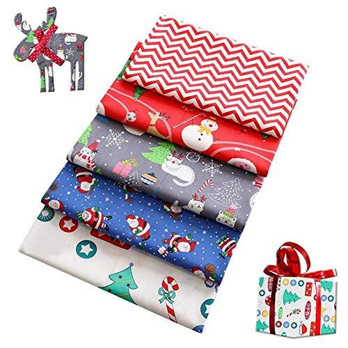 Julbomullstyg 19,7x19,7 tum, 5 st gör-det-själv sömnad hantverk tyg, julgran, snögubbe, jultomte, älg, presentask jultema tyg för julhelg dekoration