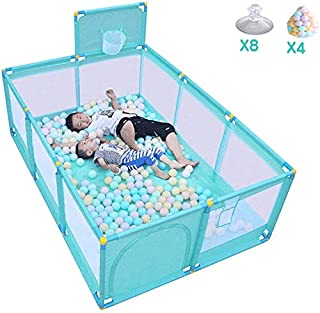 Playpens Baby with Basketball Hoop and Balls Sides Panel Large  Children Activity Center Play Yard Fence  Green