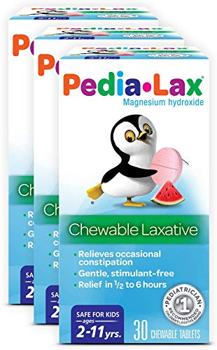 Pedia-Lax Laxative Chewable Tablets for Kids, Ages 2-11, Watermelon Flavor, 30 CT, 3 Pack Packaging May Vary