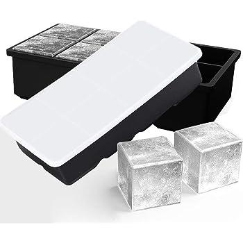 Vilapur Eiswürfelform Mit Deckel Aus Silikon Eiswürfelbehälter 2er Pack BPA-Frei Für 16 Große 5cm XXL Eiswürfel