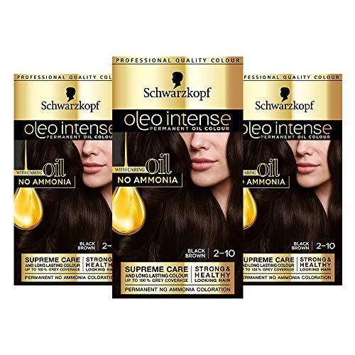 Schwarzkopf Oleo Intense Dunkelbraun Haarfarbe, 3er Pack Permanente Ölfarbe, ohne Ammoniak, Deckt Grau, Schwarzbraun 2-10