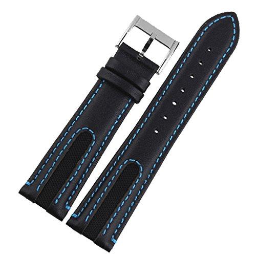 New 21mm nero in pelle automatico orologio da polso fascia blu cucitura uomo Wristaband