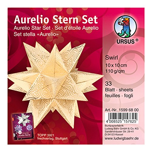 Ursus 15996800 - Faltblätter Aurelio Stern Swirl, creme / gold, 33 Blatt, aus Shimmer Papier 110 g/qm, ca. 10 x 10 cm, durchgefärbt, Vorderseite mit Veredelung, ideal als Weihnachtsdeko