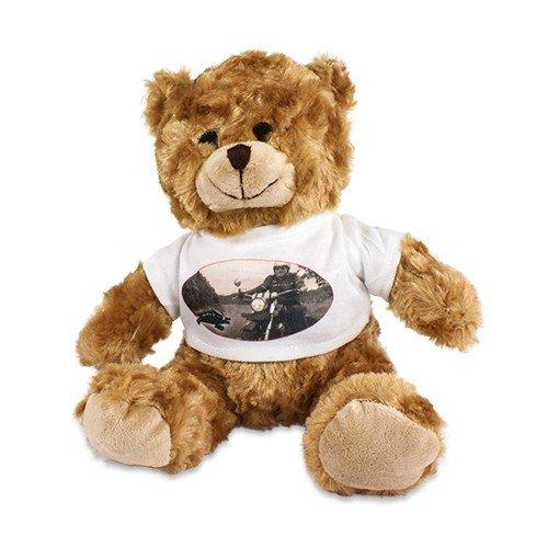 Plüsch Teddy 'Tim' mit individuell bedrucktem T-Shirt - Foto Logo Bild Sitzhöhe ca. 200 mm mit bedruckbarem Shirt mit Wunschmotiv