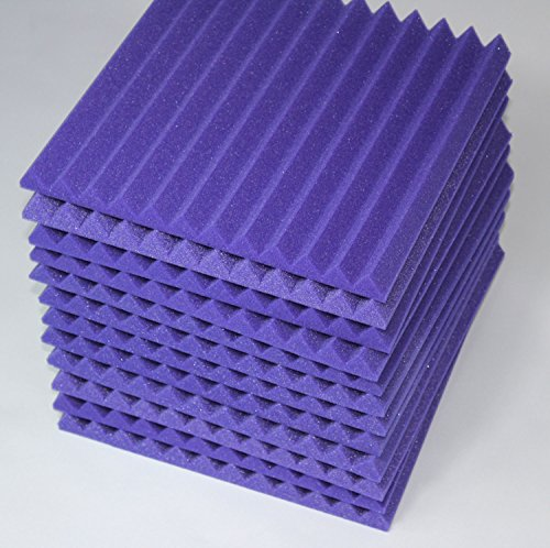 Mybecca -12 Pack Acoustic Panels Studio Foam Wedges 1' X 12' X 12' (Purple) - fire resistant