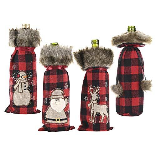 BoBoU Weihnachtsdeko Weihnachtsflaschenanzug Flaschenanzug Rentier Weihnachtsmann Schneemann Kariert aus Baumwolle Flaschen Anzug Abdeckung Deko Weihnachtsdekoration (4 Stück)