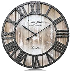 Westzytturm Wood Wall Clock Rustic,Round Vintage Frame Metal Roman Numeral Large Farmhouse Style Silent Big Digital Mantel Clocks,for Living Room Decor Bedrooms Home Kitchen Office(Pink 18 inch)