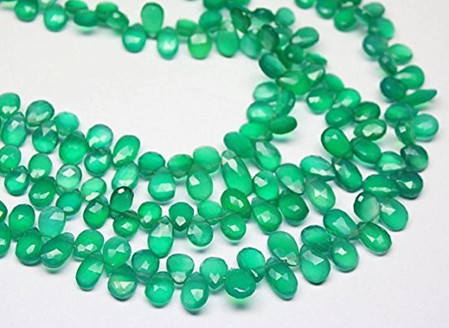 Natural verde Onyx Faceted Briolette Pear Drop Gemstone Craft Loose Beads Strand 9  7mm 11mm