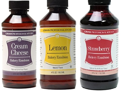 LorAnn Oils Gourmet Bakery Emulsion Cream Cheese, Lemon, and Strawberry Bundle 4 Ounce Bottles (Pack of 3)
