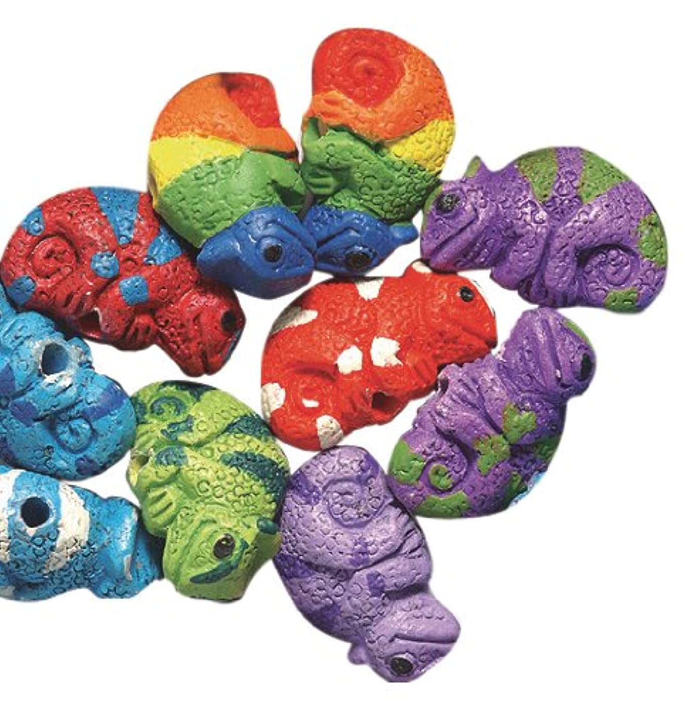 Peruvian 10 by 15mm Hand Crafted Ceramic Chameleon Beads, Assorted, 10 per Pack
