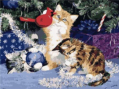 GJKIEB DIY Paint by Numbers Canvas,Christmas tree animal cat Digital painting color for adult children Pre-printed canvas artist's home decoration, size 16 inches x 20 inches (frameless.