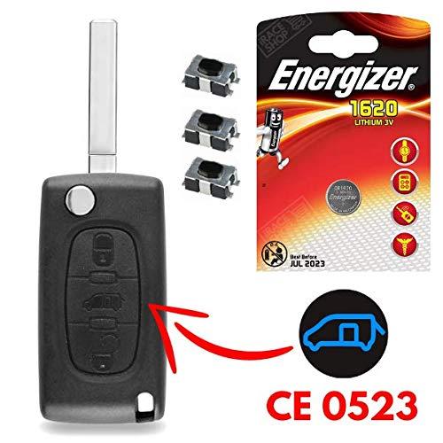 Coque de Clé Utilitaire Plip Télécommande Peugeot Partner • Expert • Bipper • Tepee ✚ 3 Switch ✚ 1 Pile CR1620 Energizer - Kit iRace Keys®