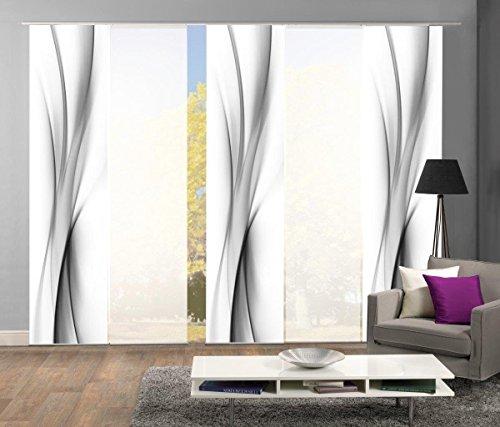 abitiamo< 95095 Flächenvorhänge 5er-Set UFA, in grau oder rot, Flächenvorhang Rochelle + Uni-Flächenvorhang ROM | Farbe des Sets: GRAU