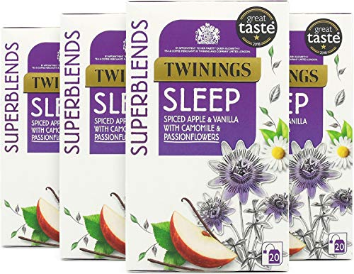 Twinings Superblends Sleep Tea with Spiced Apple, Vanilla, Camomile & Passionflowers, 80 Teabags (Multipack of 4 x 20 Bags)