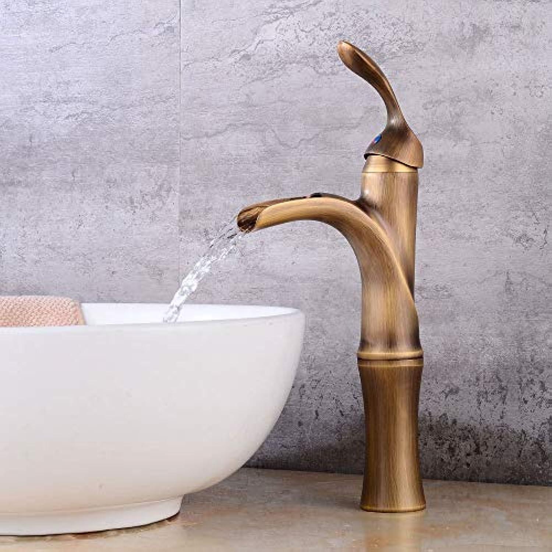 MONFS Home Wasserhahn Wasserhahn über Gegenbecken Wasserhahn Wasserhahn Retro Becken Erhhen Badezimmer Wasserfall Heies und kaltes Badezimmer über Gegenbecken Retro